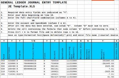 general ledger journal entry template