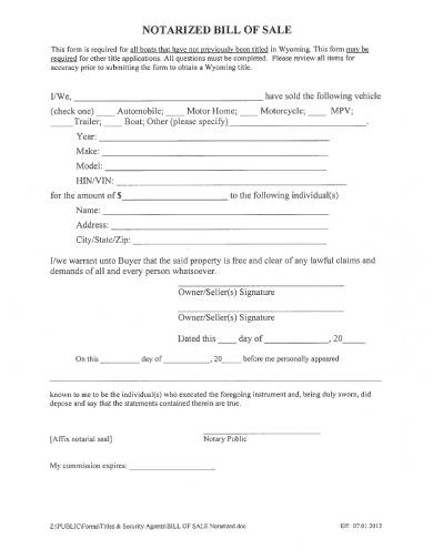 general notarized bill of sale form
