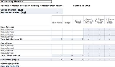 generic gross profit and loss statement form