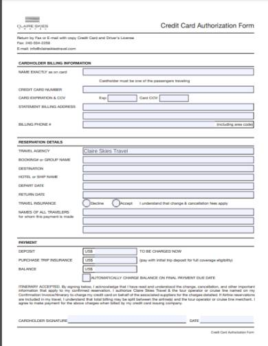 generic holiday credit card authorization form