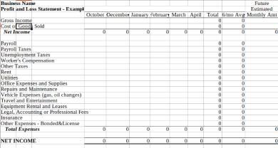 gross profit loss statement form sample
