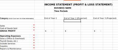 gross profit loss statement form
