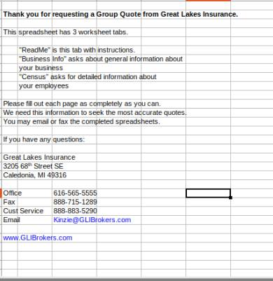 group health insurance quote census form