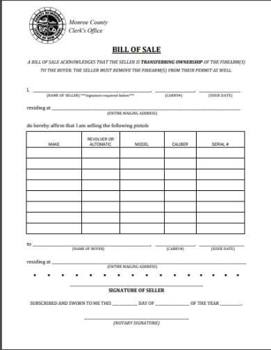 gun bill of sale form sample