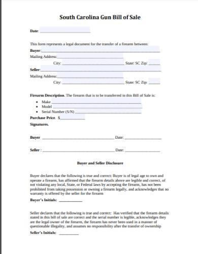 gun bill of sale form template