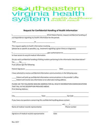 health information confidential handling request form