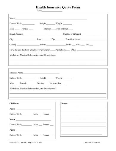 health insurance quote form sample