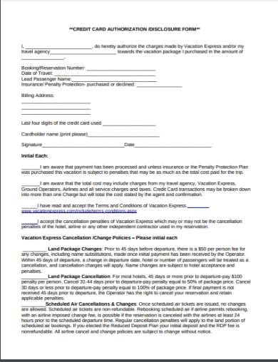 holiday credit card authorization disclosure form