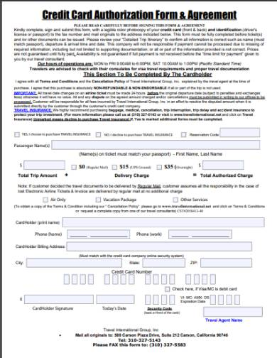 holiday credit card authorization form agreement