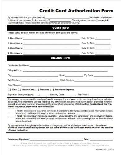 holiday travel credit card authorization form