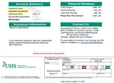 hospital customer bill pay form example