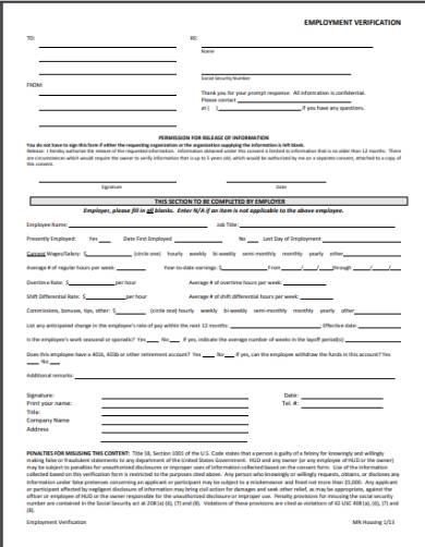 housing application employment verification form