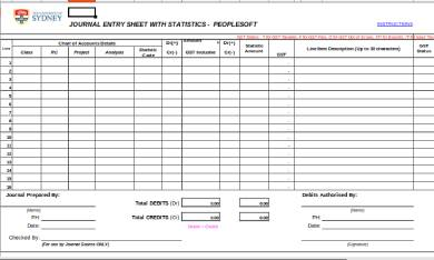 journal entry format form sheet