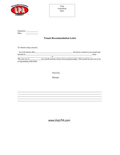 landlord agency tenant recommendation letter