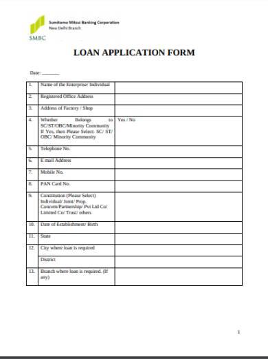 loan application for loan form