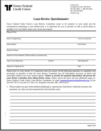 loan application review questionnaire form