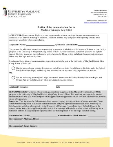 msl recommendationletter