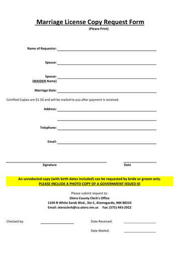 marriage license copy request form