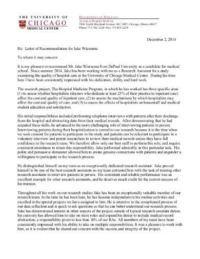 medical school recommendation letter