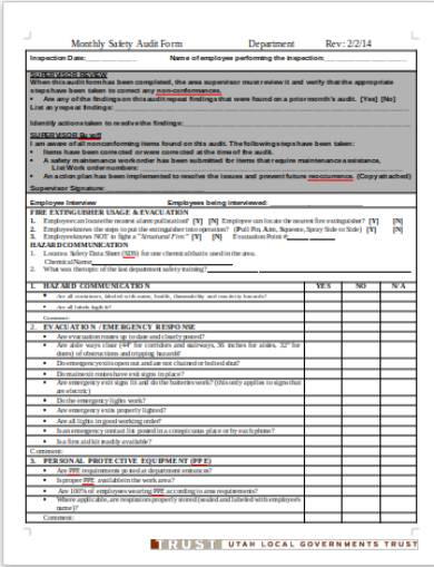 monthly safety audit form