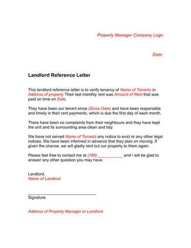 mortgage tenant landlord reference recommendation letter