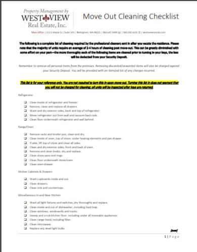 moving out tenant cleaning checklist form
