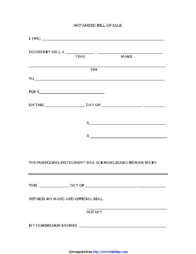 notarized bill of sale form sample
