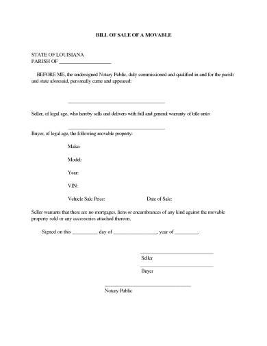 notarized bill of sale of a movable