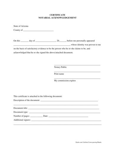 notary acknowledgment certificate form