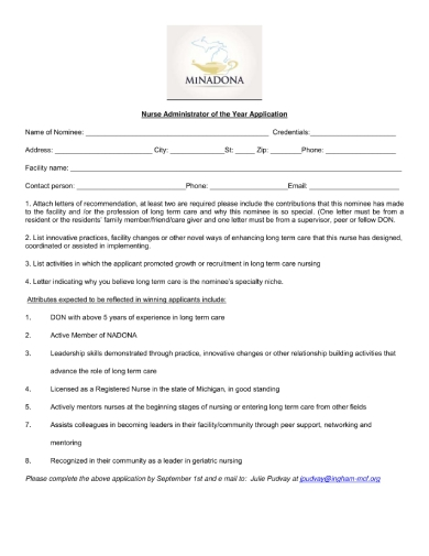 nurse administrator of the year nomination form 1 1