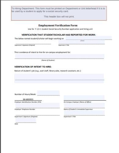 on‐campus employment verification form