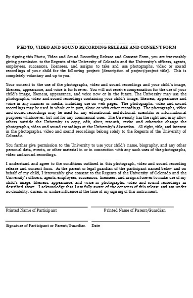 photo video recording release consent form