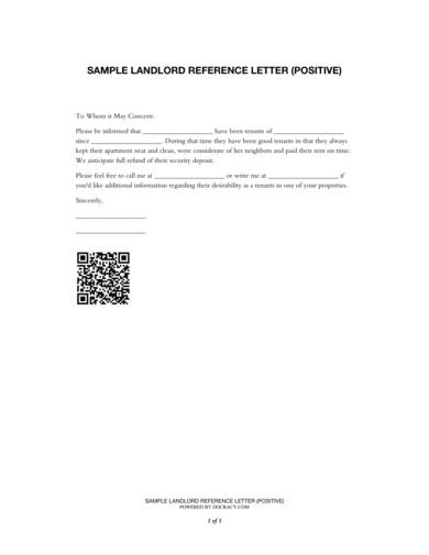 positive landlord reference recommendation letter