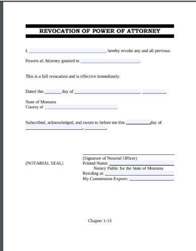 power of attorney revocation or cancellation form