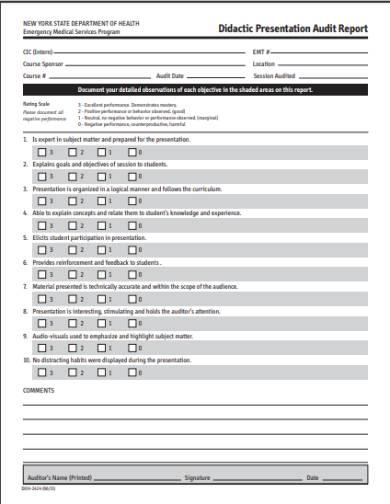 presentation audit report