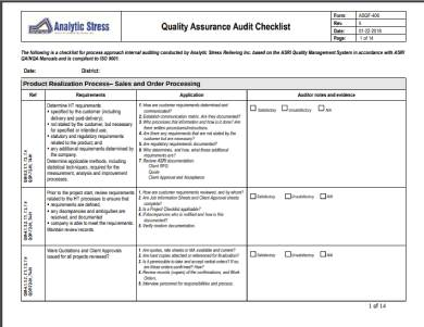 quality assurance internal audit checklist