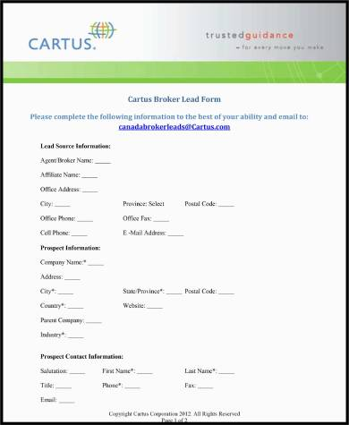 real estate agent lead form