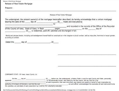 real estate mortgage lien release form