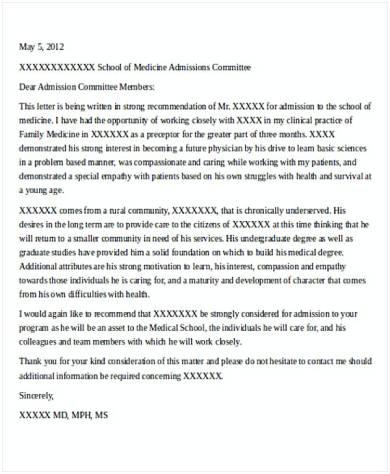 recommendation letter for medical school