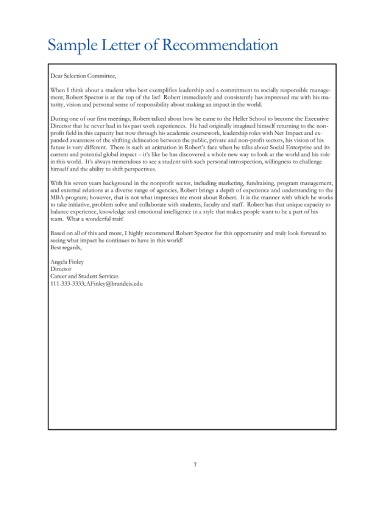 Free 8  Mba Recommendation Letters In Ms Word