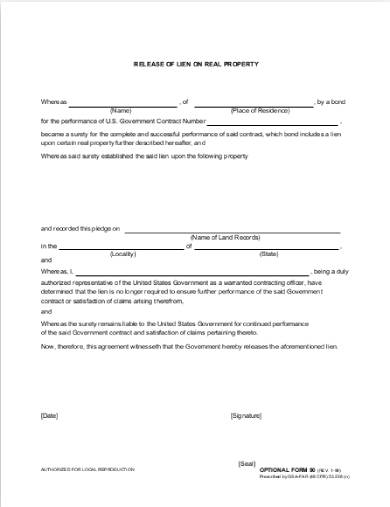 release of lien real property form