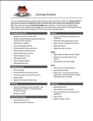 residential tenancy cleaning checklist form