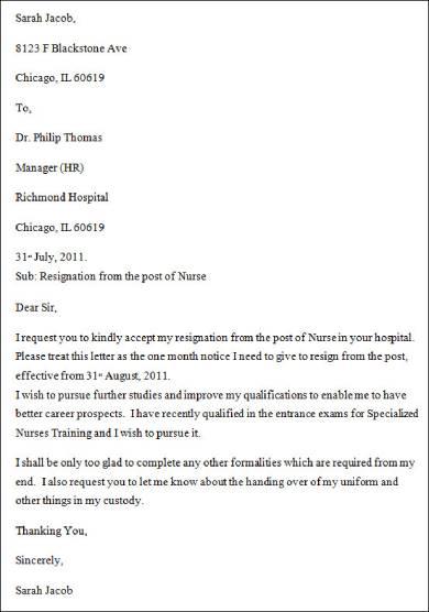 resignation letter for nurses