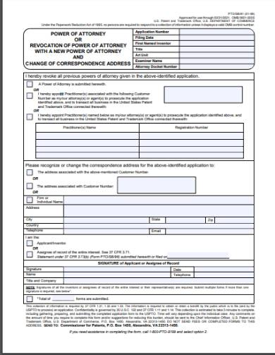revocation or cancellation of previous power of attorney form