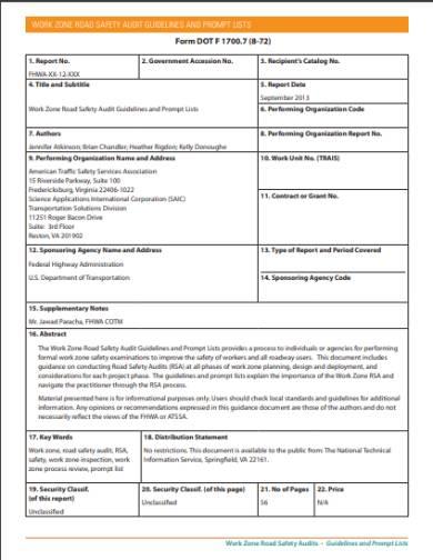 road safety audit form
