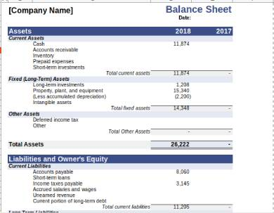 sample balance sheet form template