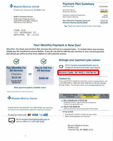 sample customer bill pay form