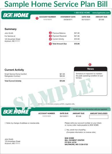 sample customer bill plan pay form