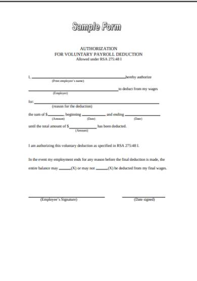 sample voluntary deduction agreements authorization form