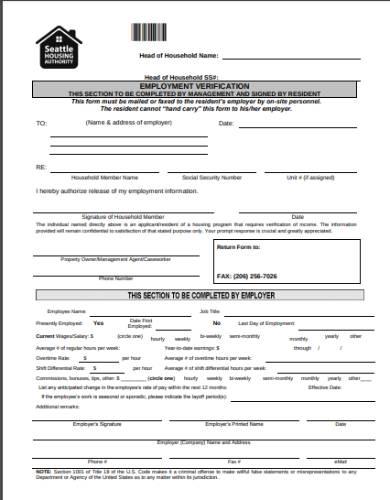 samplehousing application employment verification form